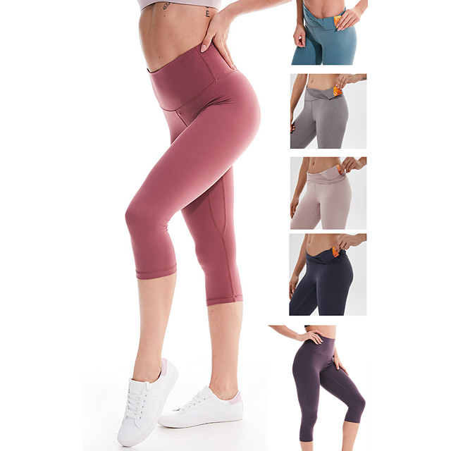 Women's High Waist Yoga Pants Hidden Waistband Pocket Capri Leggings Tummy Control Butt Lift 4 Way Stretch Black Purple Red Nylon Spandex Non See-through Fitness Gym Workout Running Sports Activewear