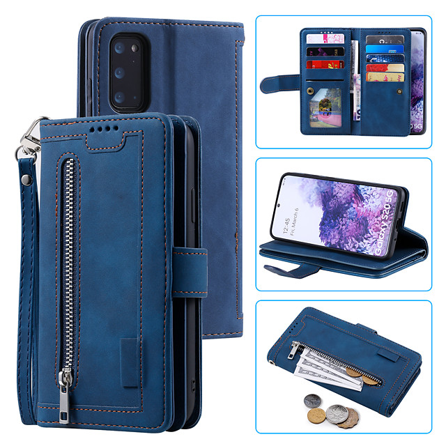 Case For Samsung Galaxy S20 Card Holder / Shockproof / Flip Full Body Cases Solid Colored PU Leather / TPU