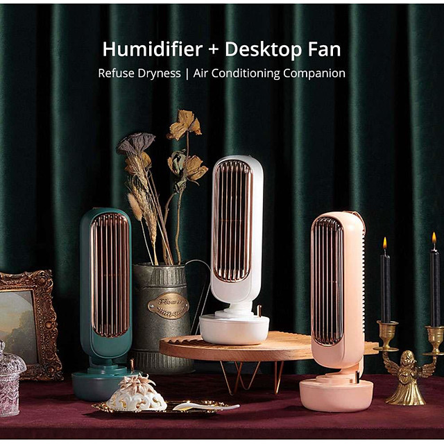 Retro Humidification Tower Fan Two in One USB Charging Air Conditioner Cooler Desktop Moisturizing Humidifier Mute Ice Mist Fan