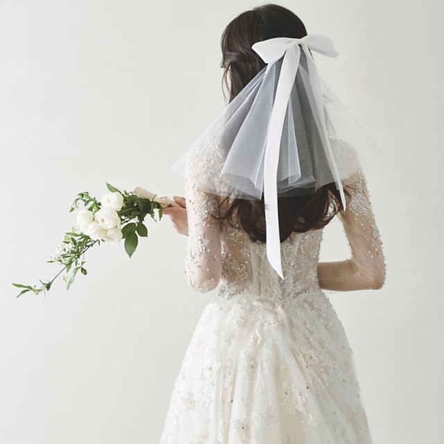 Two-tier Sweet Style Wedding Veil Shoulder Veils with Satin Bow 30 cm Tulle