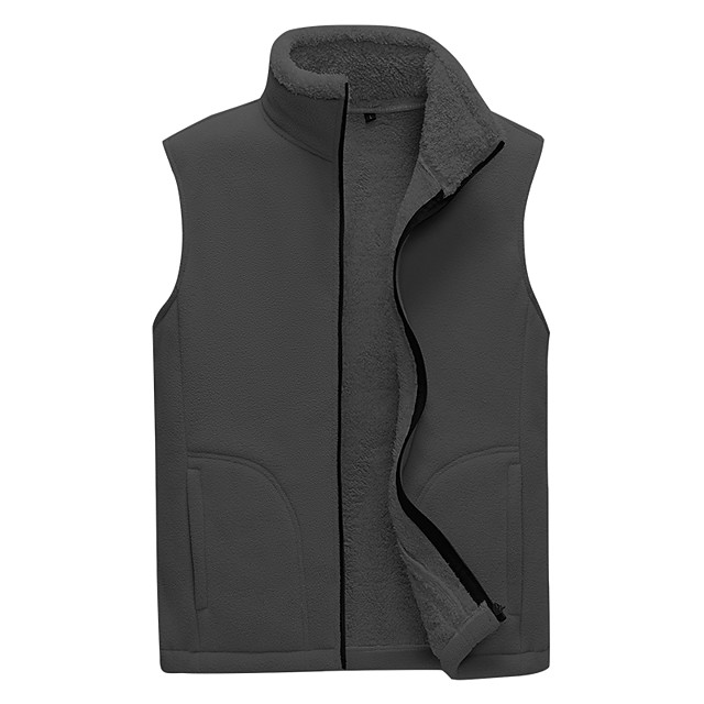 Men's Hiking Gilet Winter Outdoor Thermal / Warm Windproof Breathable Soft Top Fleece Camping / Hiking Hunting Fishing Light Coffee / Black / Army Green / Grey / Khaki