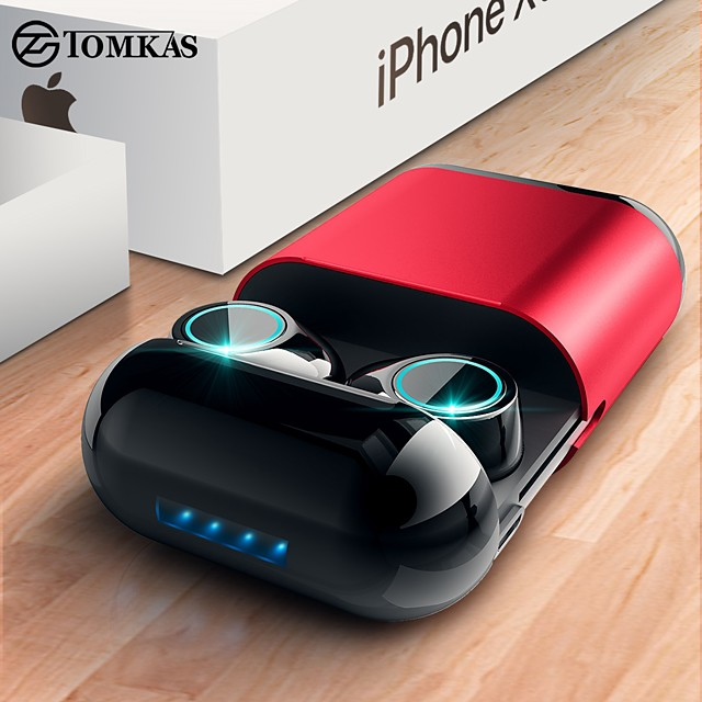 TOMKAS TWS Wireless Earbuds Bluetooth Headphones Stereo Headset With Mic and Charging Box