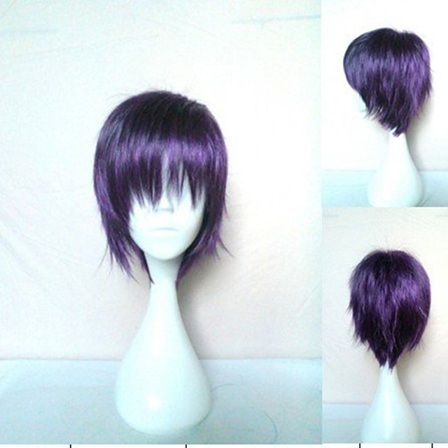 Cosplay Costume Wig Synthetic Wig Cosplay Wig Yato Noragami Straight Cosplay Pixie Cut Layered Haircut Wig Short Purple Synthetic Hair 10 inch Women's Cosplay Synthetic Purple hairjoy