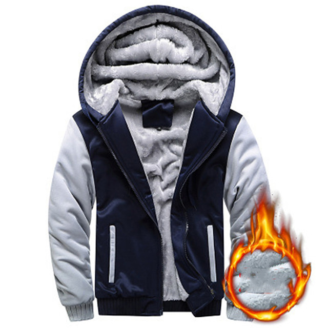 Men's Pullover Hiking Fleece Jacket Hoodie Jacket Workout Winter Outdoor Full Zip Windproof Fleece Lining Breathable Warm Jacket Top Cotton Camping Hiking Hunting Fishing Black Red Blue Grey