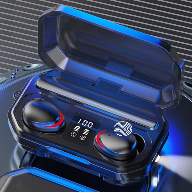 LITBest M15 TWS Wireless Earbuds Magnetic Switch Siri Voice Assistant Power Bank Light up Earphone Bluetooth5.0 LED Digital Display Waterproof And Sweaterproof Headset With 2000mAh Charging Box