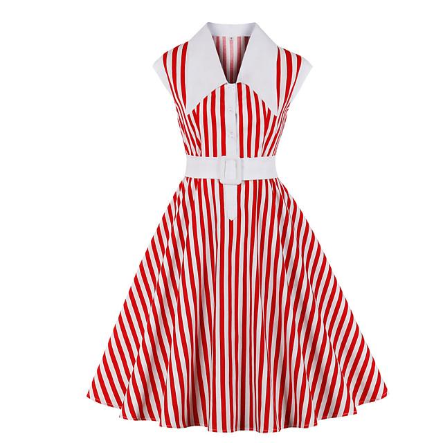 Audrey Hepburn Vintage Dress Women's Spandex Costume Red Vintage Cosplay A-Line