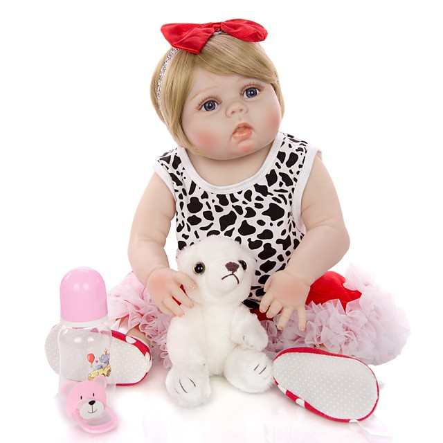 KEIUMI 22 inch Reborn Doll Baby & Toddler Toy Reborn Toddler Doll Baby Girl Gift Cute Washable Lovely Parent-Child Interaction Full Body Silicone 23D23-C307-T19 with Clothes and Accessories for