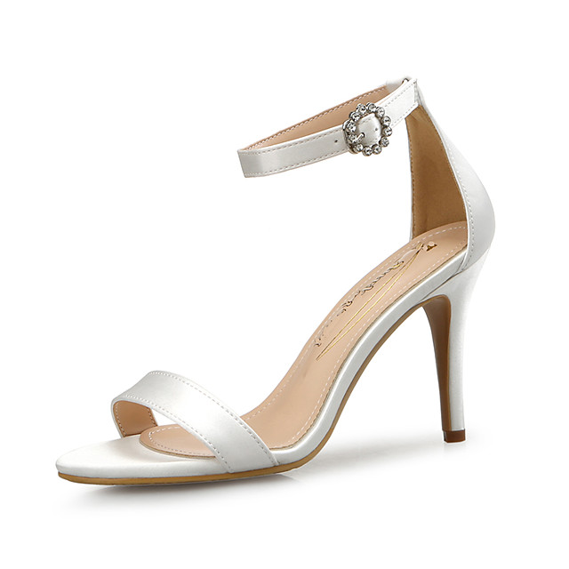 Women's Sandals Spring Fall Pumps Open Toe Wedding Party & Evening Satin White / Black / Red