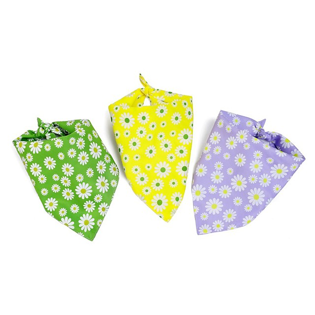 Dog Cat Bandanas & Hats Dog Bandana Dog Bibs Scarf Flower Casual / Sporty Cute Party Sports Dog Clothes Adjustable Purple Yellow Green Costume Polyster L