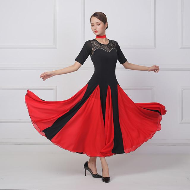 Für den Ballsaal Kleid Spitze Kombination Kristalle / Strass Damen Training Leistung Kurzarm Lycra Kunst-Seide