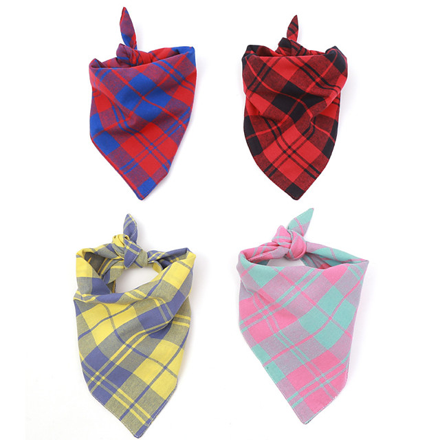Dog Cat Bandanas & Hats Dog Bandana Dog Bibs Scarf Plaid / Check Casual / Sporty Cute Sports Casual / Daily Dog Clothes Breathable Costume Cotton S M