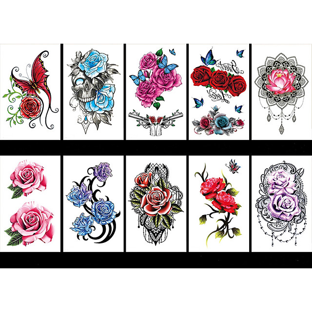 LITBest 6 Sheets Randomly Temporary Tattoos Flower Temporary Tattoos for Women Teens Girls, Tiny Temporary Tattoo Adult Waterproof Body Art Sticker TBS8190-TBS8198