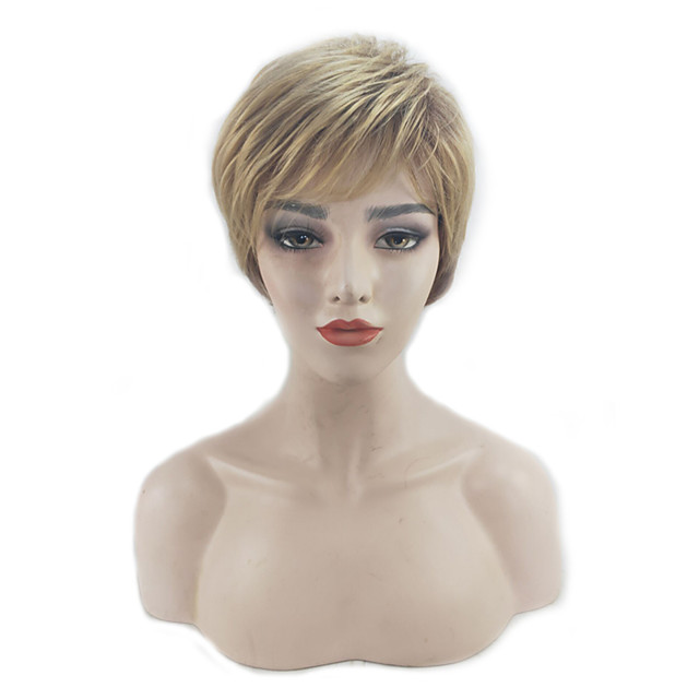 Synthetic Wig Straight Pixie Cut Layered Haircut Wig Short Grey Sliver White Dark Brown / Light Brown Black Synthetic Hair 12 inch Women's Women Synthetic Sexy Lady Dark Gray Brown hairjoy