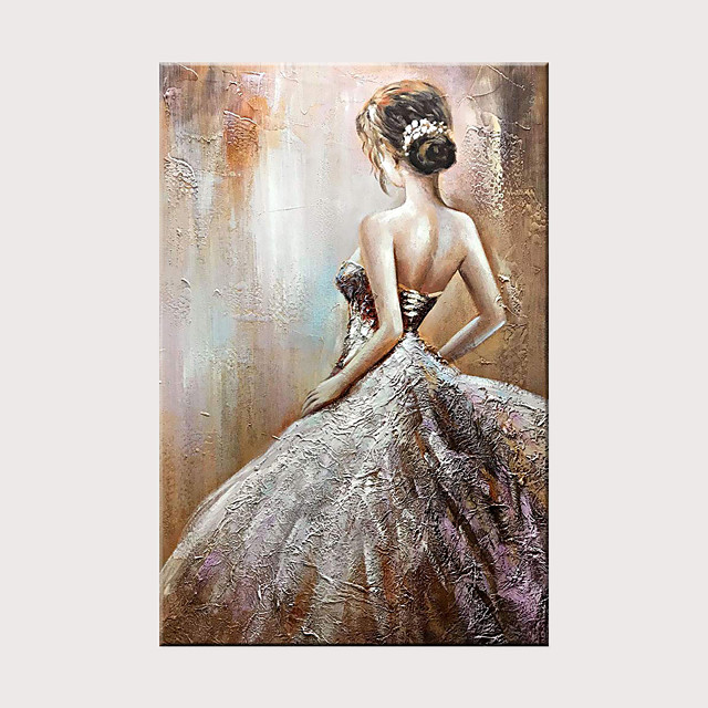 Hand Painted Canvas Abstract Oil Painting Modern Abstract Art Home Decoration Wall Art Wedding Dress Girl