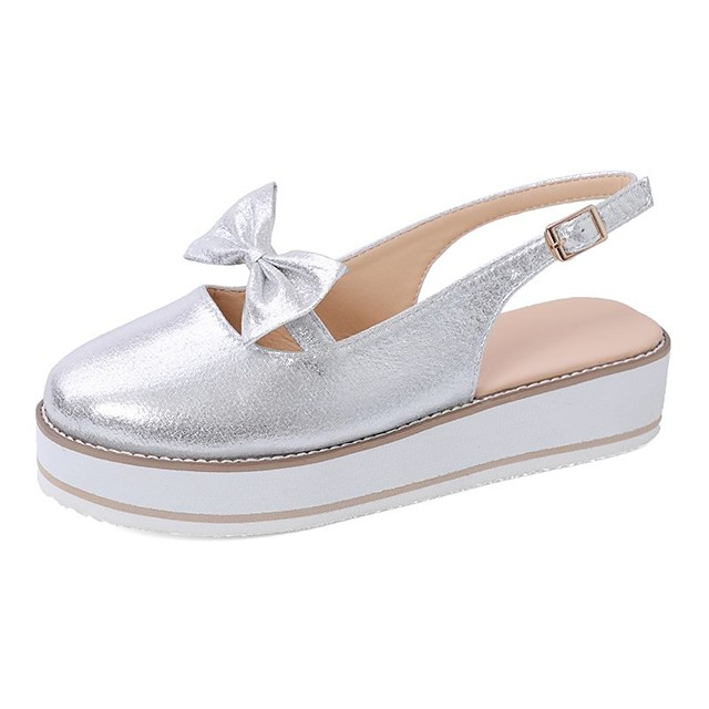 Women's Sandals Summer / Fall Flat Heel Round Toe Casual Daily Home Rhinestone / Bowknot Faux Leather Black / Blue / Pink