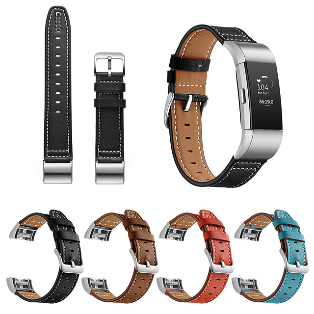 Replacement Strap for Fitbit Charge 2 Genuine Leather Modern Buckle Watchband