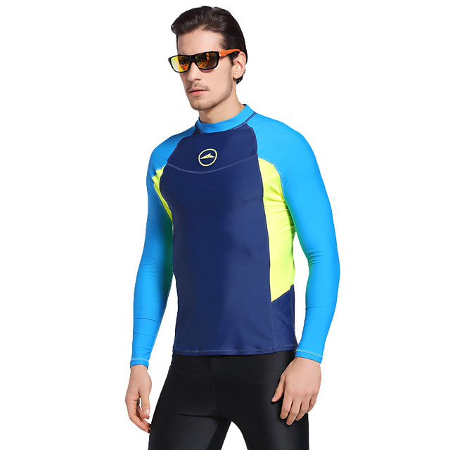 Men's Rash Guard Elastane Top Breathable Quick Dry Long Sleeve Swimming Diving Water Sports Patchwork Autumn / Fall Spring Summer / Stretchy