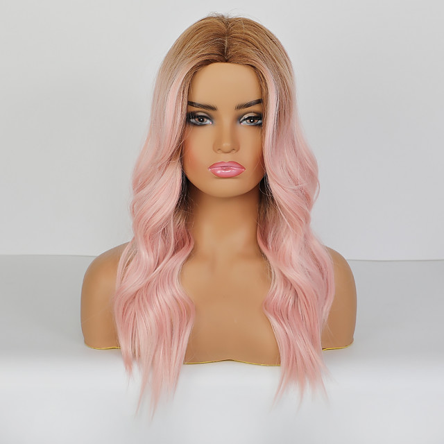 Synthetic Wig Body Wave Deep Wave Deep Parting Wig Long Pink+Red Synthetic Hair 24 inch Women's Adorable Ombre Hair Middle Part Pink