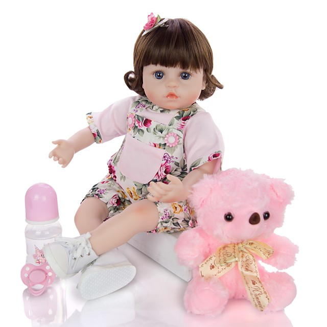 KEIUMI 18 inch Reborn Doll Baby & Toddler Toy Reborn Toddler Doll Baby Girl Gift Cute Washable Lovely Parent-Child Interaction Full Body Silicone with Clothes and Accessories for Girls' Birthday and