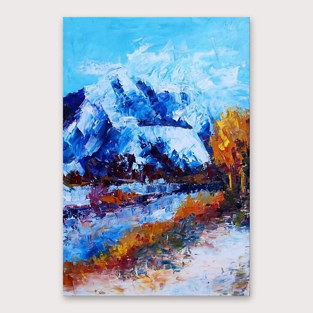 iarts® pintura al óleo de montaña de nieve pintada a mano con marco estirado para la decoración del hogar