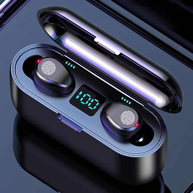 LITBest F9-8 TWS Wireless Earbuds 2000mAh Charging Box Power Bank Automatic Pairing Touch Control Bluetooth5.0 IPX7 Waterproof LED Power Display Stereo Headset Can Be Used As A Mobilephone Holder