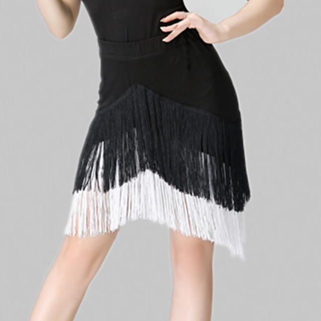 Latin Dance Skirts Tassel Women's Training Spandex