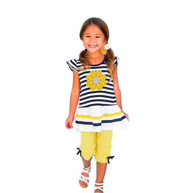 Brzdąc Dla dziewczynek Aktywny Codzienny Święto Prążki Solidne kolory Nadruk Krótki rękaw Regularny Komplet odzieży Żółty / Śłodkie
