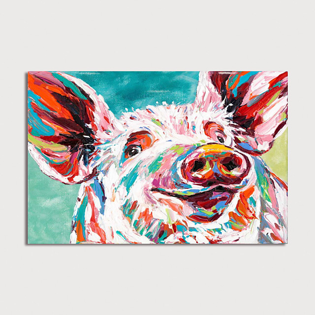 Hand Painted Canvas Oilpainting Abstract Pig by Knife Home Decoration with Frame Painting Ready to Hang