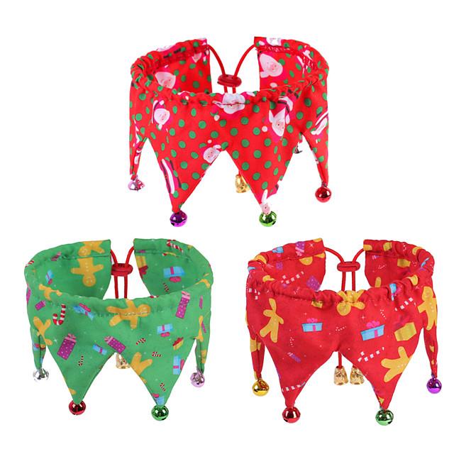 Dog Cat Bandanas & Hats Dog Bandana Dog Bibs Scarf Cartoon Party Cute Christmas Party Dog Clothes Adjustable Costume Polyster M