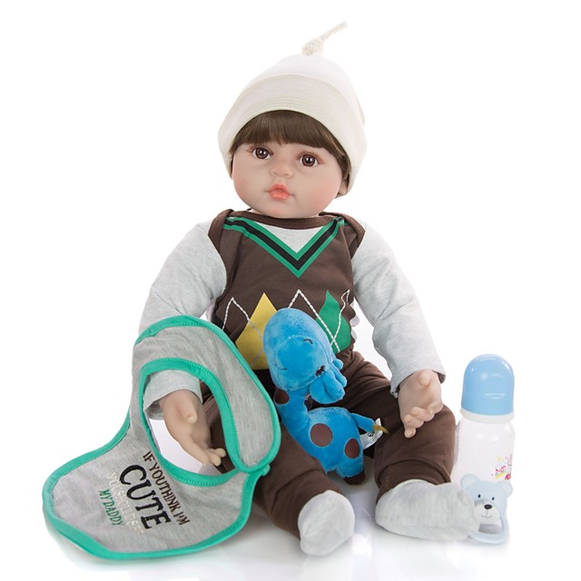 KEIUMI 24 inch Reborn Doll Baby & Toddler Toy Reborn Toddler Doll Baby Boy Gift Cute Lovely Parent-Child Interaction Tipped and Sealed Nails Half Silicone and Cloth Body with Clothes and Accessories