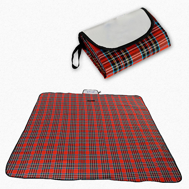 Picnic Blanket Outdoor Camping Rain Waterproof Anti-Slip Wearable Cotton Fabric 200*150 cm for 2 - 3 person Climbing Camping / Hiking / Caving Traveling Spring Summer Red Blue