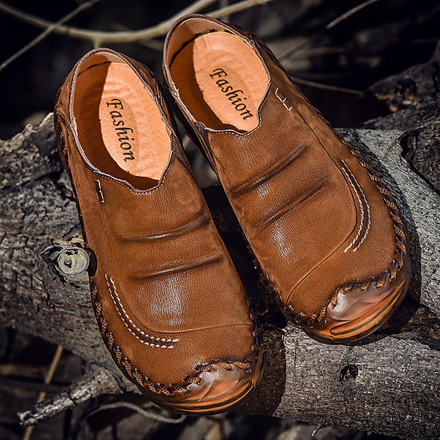 Men's Summer / Fall Business / Casual / British Party & Evening Office & Career Loafers & Slip-Ons Walking Shoes Cowhide Breathable Handmade Wear Proof Black / Brown