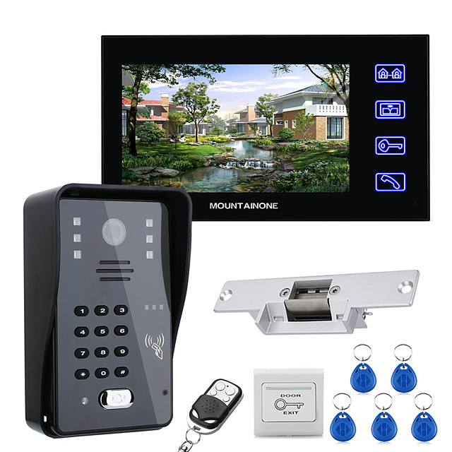7 Lcd Video Door Phone Intercom System RFID Door Access Control Kit Outdoor Camera Electric Strike LockWireless Remote Control