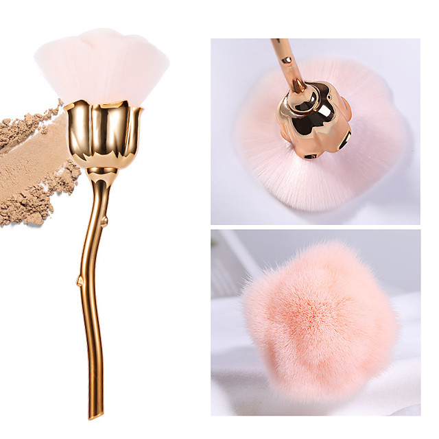 Manicure dust brush pink hair rose flower type brush manicure brush nail trim cleaning brush loose powder brush blush brush