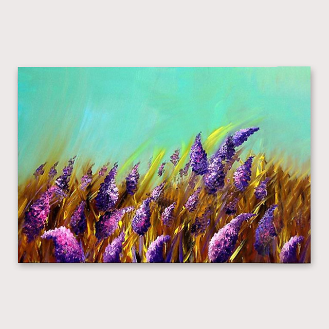 IARTS Hand Painted Purple flowers Oil Painting with Stretched Frame For Home Decoration With Stretched Frame