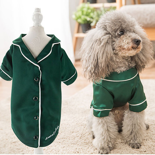 Dog Pajamas T-shirts Solid Colored Casual / Sporty Cute Party Casual / Daily Dog Clothes Warm Pink Green Costume Fabric XS S M L XL XXL