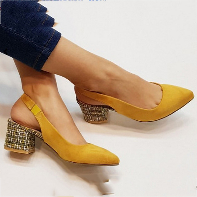 Women's Loafers & Slip-Ons Summer Block Heel Round Toe Daily Solid Colored PU Black / Yellow / Orange