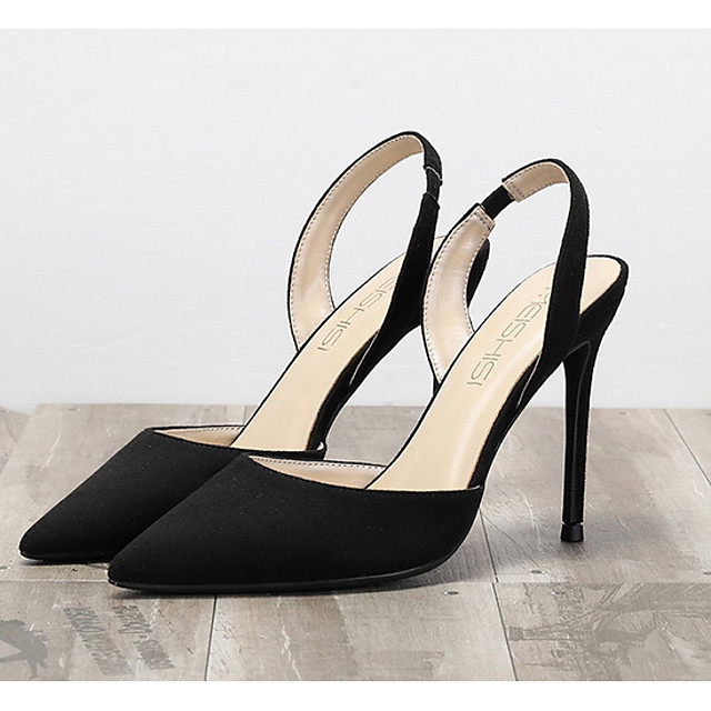 Women's Sandals Summer Stiletto Heel Pointed Toe Daily Solid Colored Suede Black