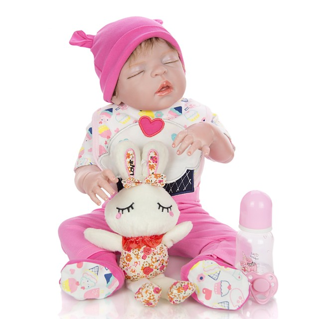 KEIUMI 22 inch Reborn Doll Baby & Toddler Toy Reborn Toddler Doll Baby Girl Gift Cute Lovely Parent-Child Interaction Tipped and Sealed Nails Full Body Silicone 23D36-C88-T23 with Clothes and