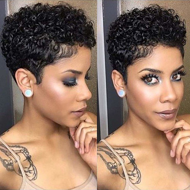 Remy Human Hair Wig Short Afro Curly Pixie Cut Natural Black Party Women Easy dressing Machine Made Capless Brazilian Hair Women's Girls' Natural Black #1B 6 inch