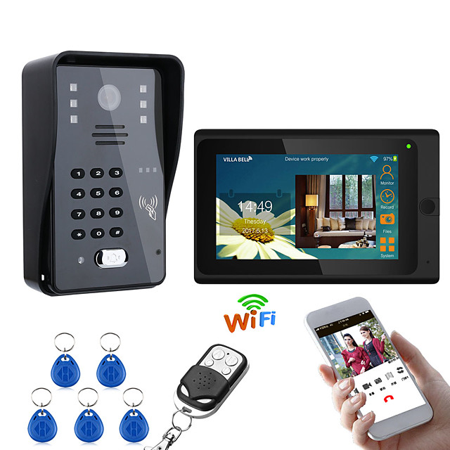 MOUNTAINONE 7inch Wired / Wireless Wifi RFID  Video Door Phone Doorbell Intercom Entry System With 1000TVL Wired Camera Night VisionSupport Remote APP UnlockingRecordingSnapshot