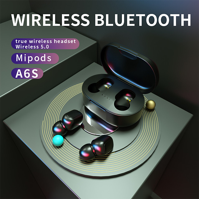 A6S TWS True Wireless Earbuds Auto Pairing Smart Touch Control Bluetooth 5.0 Stereo Dual Drivers with Microphone with Charging Box Sport Fitness for Android iPhone Smart Phones Tablet PC laptop