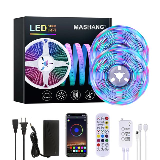 MASHANG 32.8ft 10M Bright RGBW LED Strip Lights Music Sync Smart LED Tiktok Lights 2340LEDs SMD 2835 Color Changing with 24 keys Remote Bluetooth Controller for Home Bedroom TV Back Lights DIY Deco