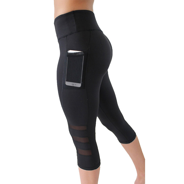 Women's High Waist Yoga Pants Side Pockets Capri Leggings Butt Lift 4 Way Stretch Breathable Black Mesh Spandex Lycra Gym Workout Running Fitness Sports Activewear High Elasticity / Quick Dry