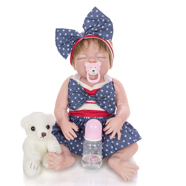 KEIUMI 22 inch Reborn Doll Baby & Toddler Toy Reborn Toddler Doll Baby Girl Gift Cute Washable Lovely Parent-Child Interaction Full Body Silicone 23D36-C316-T19 with Clothes and Accessories for