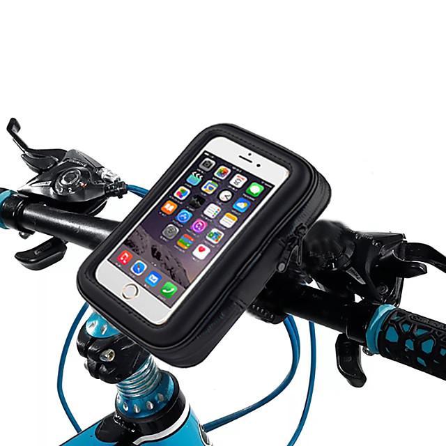 Waterproof Touch Screen Phone Pouch Bag Motorcycle Cycling Bike Handlebar Tube Mount Rotatable - B
