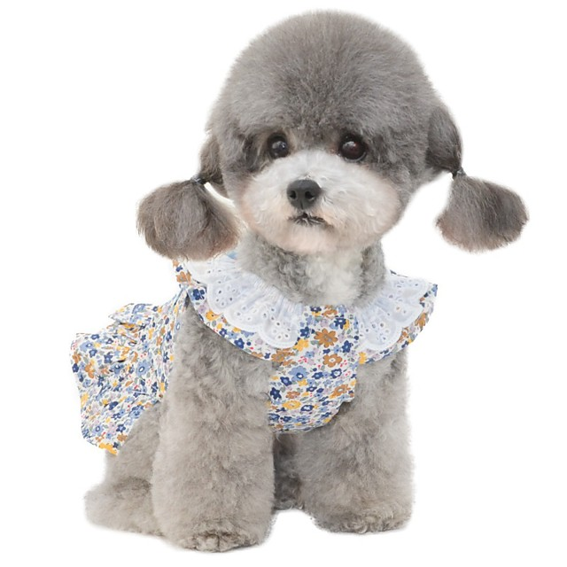 Dog Dress Pajamas Flower Casual / Sporty Cute Wedding Casual / Daily Dog Clothes Breathable Blue Pink Costume Cotton S M L XL XXL