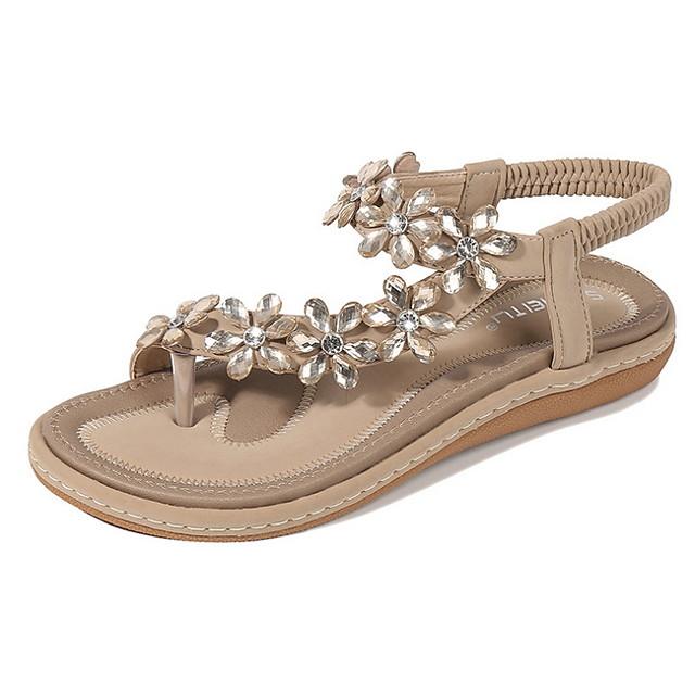 Women's Sandals Summer Flat Heel Open Toe Daily PU Almond / Black / Blue