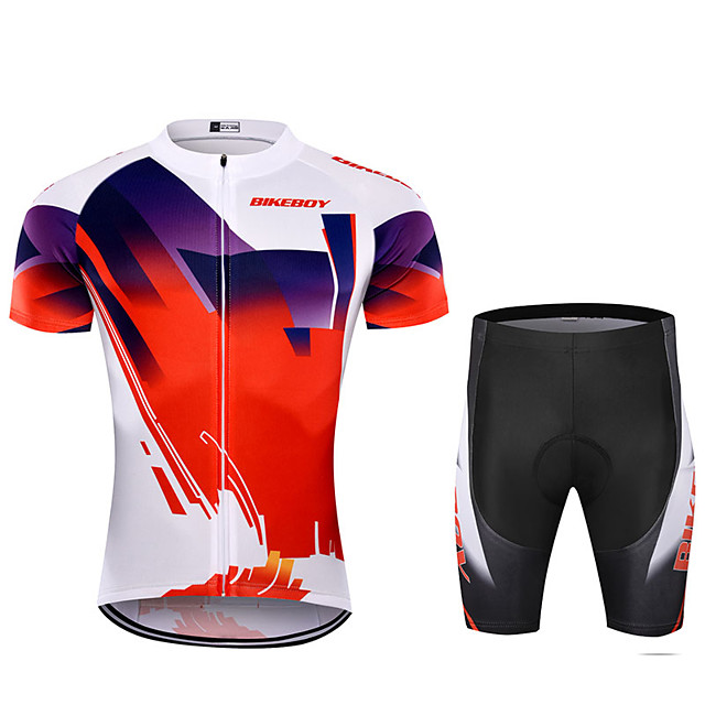 BIKEBOY Men's Short Sleeve Cycling Jersey with Shorts Polyester Red Patchwork Gradient Bike Clothing Suit Breathable 3D Pad Quick Dry Reflective Strips Back Pocket Sports Patchwork Mountain Bike MTB