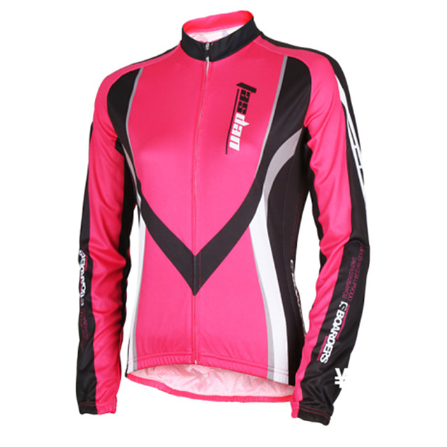 TASDAN Women's Long Sleeve Cycling Jersey Winter Polyester Red Blue Stripes Patchwork Bike Jersey Top Mountain Bike MTB Road Bike Cycling Breathable Quick Dry Reflective Strips Sports Clothing Apparel